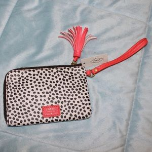 NWT Fossil Tara Dotted Wristlet with Tassel